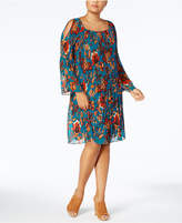 INC International Concepts Anna Sui Loves Plus Size Pleated Cold-Shoulder Dress, Created for Macy's