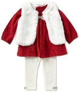Starting Out Baby Girls 3-24 Months Long-Sleeve Top, Faux-Fur Vest, & Leggings 3-Piece Set