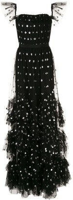 Marchesa Notte Spotted Sequin Embroidered Ruffle Gown