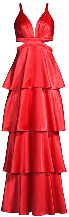 Aidan Mattox Satin Tiered Gown