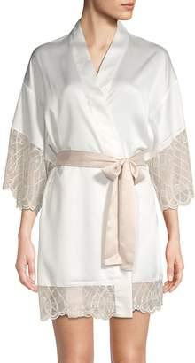 Flora Nikrooz Gabby Lace-Trimmed Charmeuse Kimono Robe