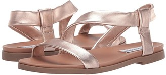 Steve Madden Dessie Flat Sandals (Silver Leather) Women's Sandals