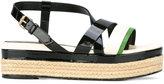 Lanvin strap detail wedge sandals - women - Raffia/Leather/Patent Leather - 37