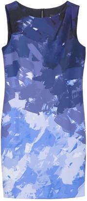 DKNY Pleat Shoulder Patterned Sheath Dress