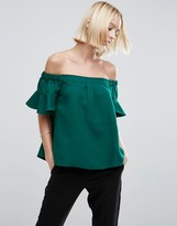 Asos Off Shoulder Top with Frill Sleeve