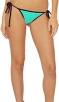 Del Mar Swimwear - Area String Side-Tie Bikini Bottom In Green/Blue