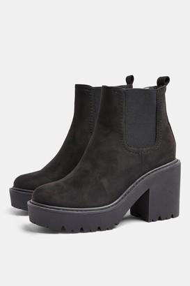 Topshop BLITZ Black Chunky Heeled Chelsea Boots