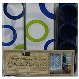 Blue circle Vinyl Shower Curtin and window curtain set