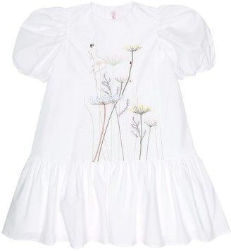 Il Gufo Embroidered cotton-percale dress