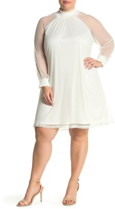 Nina Leonard Shirred Mock Neck Lace Trapeze Dress (Plus Size)