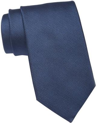 HUGO BOSS Dark Blue Micro Check Silk Tie