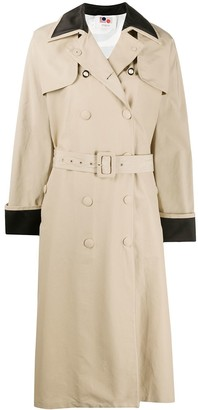 Ports 1961 Contrast-Panel Trench Coat