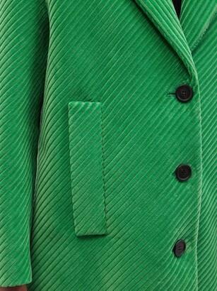Prada Single-breasted Cotton-blend Corduroy Coat - Green