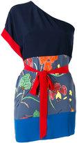 Diane von Furstenberg floral print monoshoulder T-shirt - women - Silk/Spandex/Elastane - S