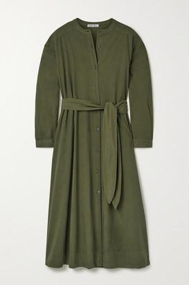 Alex Mill Belted Cotton-poplin Midi Shirt Dress - Army green