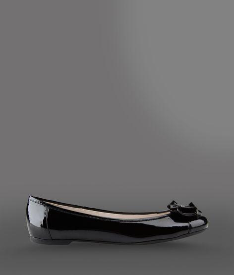 Emporio Armani Calfskin Ballet Flat With Bow And Logo