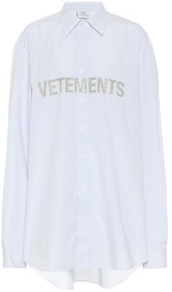 Vetements Glitter logo striped cotton shirt