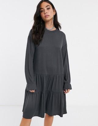 Noisy May oversized tiered jumper smock mini dress-Grey