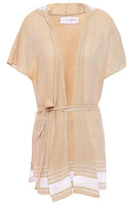 SUNDRESS Striped Cotton And Lurex-blend Gauze Hooded Coverup