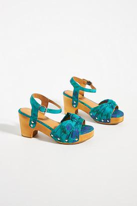 Anthropologie Elle Wooden Heels By in Blue Size 40
