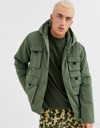 ASOS DESIGN hooded puffer jacket with hood and utility pockets in khaki