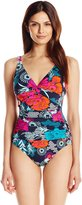 Penbrooke Women's Eastern Exotic Twist Bodice Maillot One Piece Swimsuit