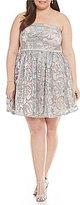 Jodi Kristopher Plus Strapless Floral Sequin Party Dress
