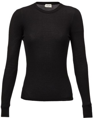 Saint Laurent Round-neck Rib-knitted Sweater - Black