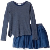 Splendid Littles Indigo Tutu Dress Stripe Print Girl's Pajama Sets