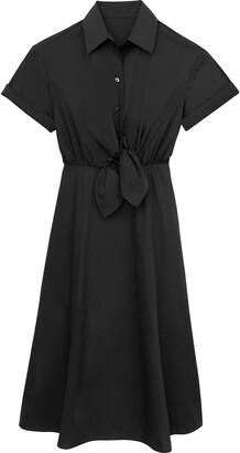 Tie Front Poplin Dress