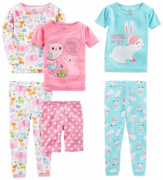 Simple Joys by Carter's Toddler Girls 6-Piece Snug Fit Cotton Pajama Set