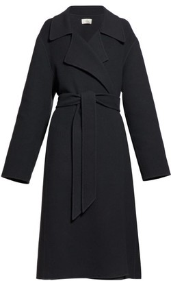 The Row Efo Belted Cashmere-blend Felt Coat - Womens - Dark Grey