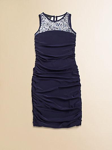 Un Deux Trois Girl's Shirred Sequin Dress