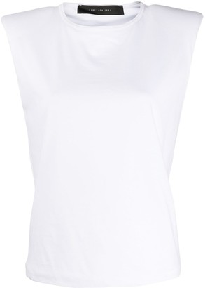 FEDERICA TOSI Padded Shoulder Round Neck Top