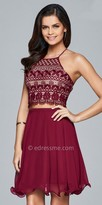 Faviana Lace Embroidered Two Piece Lace Up Cocktail Dress
