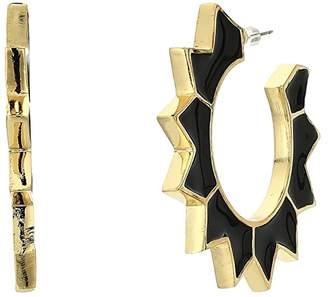 Kenneth Jay Lane Gold with Black Enamel Spike Hoop Pierced Earrings (Gold/Black) Earring
