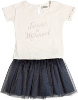 Sticky-Fudge Cotton Jersey T-Shirt & Tulle Skirt