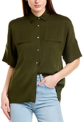 Vince Silk-Blend Tailored Blouse