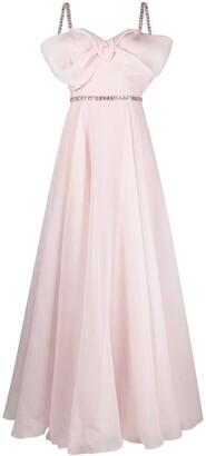 Jenny Packham Bow-Embellished Flared Gown