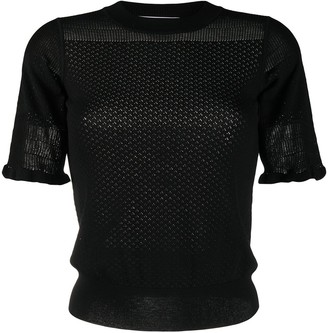 See by Chloe Short-Sleeve Pointelle Knit Top