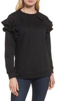 Petite Women's Halogen Ruffle Sweatshirt