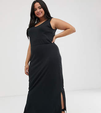 Vero Moda Curve midi jersey dress-Black