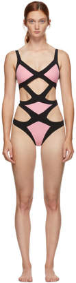 Agent Provocateur Pink and Black Mazzy One-Piece Swimsuit
