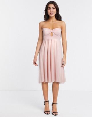 ASOS DESIGN bandeau tulle mesh midi skater dress in pale pink