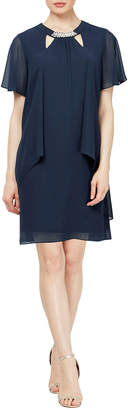 Slny Cutout-Neck Cocktail Dress With Pearly Trim