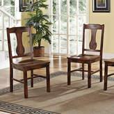 Asstd National Brand Distressed Dark Oak Wood Dining Kitchen Chairs, Set of 2