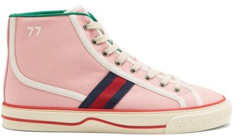 Gucci Tennis 1977 Web-stripe Canvas High-top Trainers - Light Pink