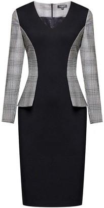 Rumour London Abigail Monochrome Dress With Prince Of Wales Check Peplum