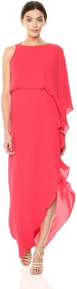 Halston Women's Flowy One Sleeve Round Neck Gown with Back Cowl