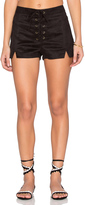 Lucca Couture Faux Suede Lace Up Notched Shorts